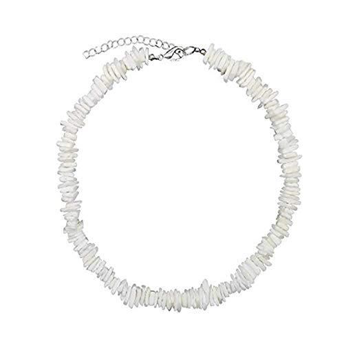 (Puka Clam Chip Seashell Choker Necklace Hawaii Beach Cowrie Conch Shell Chokers(16inch))