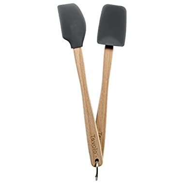 Tovolo Mini Silicone Spatula and Spoonula, Charcoal - Set of 2
