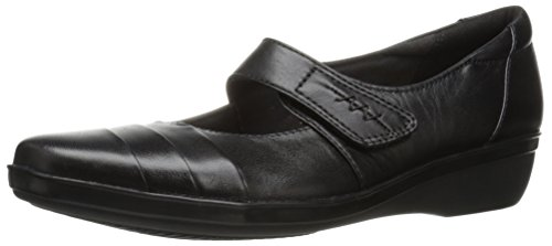 CLARKS Women's Everlay Kennon Mary Jane Flat, Black Leather, 8.5 M US (Clark Kids Shoes)