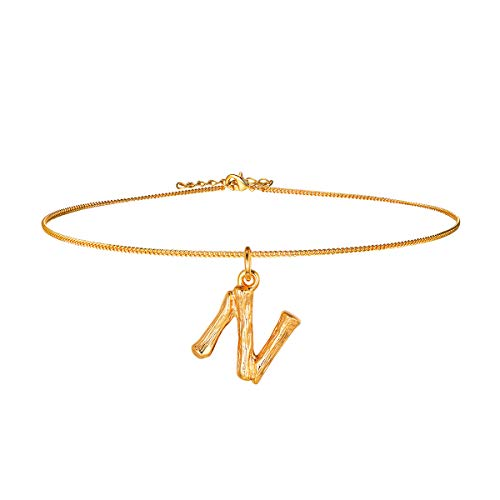 Bamboo Initial Choker Collar Necklace,18k Gold Plated DIY Women Girls Party Fashion Jewelry,14+2 Inches Resizable Chain for Layering, 26 Charm Small Tiny Capital Alphabet Letter Pendant Necklace(N)
