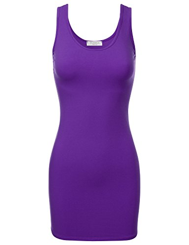 FLORIA Women's Scoop Neck Fitted Stretch Bodycon Mini Tank Sexy Dress Purple S]()