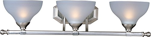 Maxim 21273FTSN Contour 3-Light Bath Vanity, Satin Nickel Finish, Frosted Glass, MB Incandescent Incandescent Bulb , 60W Max., Dry Safety Rating, Standard Dimmable, Metal Shade Material, Rated Lumens