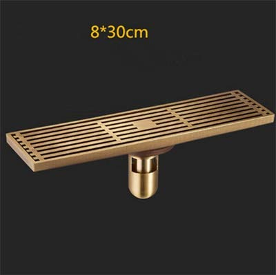 (Ochoos 1030cm Antique Brass Bathroom Linear Shower floor Drain Wire Strainer Art Carved Cover Waste Drainer DL-0508F - (Color: H) )