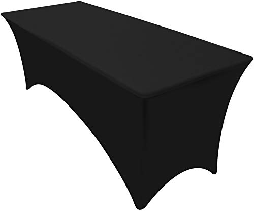 Kitchen Rectangular Table - Utopia Kitchen Rectangular Stretch Tablecloth - 6 Feet - Spandex Tight Fit Table Cover - Black