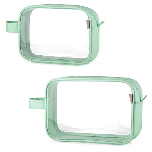 GAGAKU TSA Approved Clear Toiletry Bag Transparent Makeup Bags Set Waterproof Wash Bag 2pcs - Green
