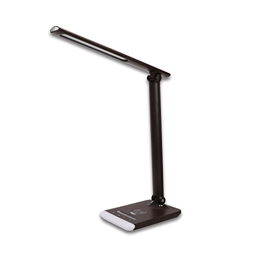 Price comparison product image Wilit LED Desk Lamp with Wireless Charging Pad Dimmable 5-Level Dimmer 3 Color Temperatures Touch Control Full Color Changing LED Night Light Eye-caring Table Lamps Memory Function (Brown)