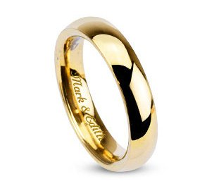 Hand Engraved Wedding Band - Personalized Men's Gold Stainless Steel Ring Custom Engraved Free