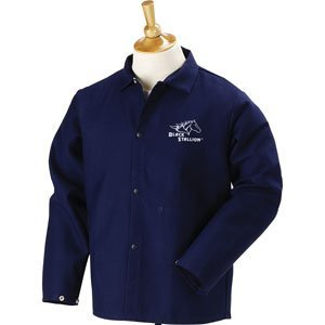 "Black Stallion FN9-30C 30"" 9oz. Navy FR Cotton Welding Jacket, Large (Xlarge)"