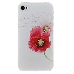 MOFY-Caso del patr—n de la PC dura roja de la flor para el iPhone 4/4S