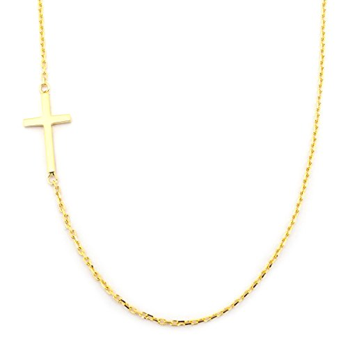 14k Yellow Gold Offset Sideways Cross Pendant Necklace, 17.5 Inches ()
