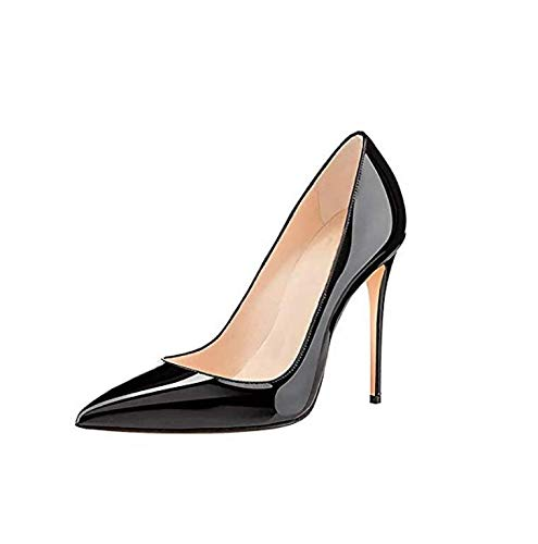 Pointed Stiletto Heel High (GENSHUO High Heel, 10cm/3.94 Inch Stiletto High Heel Shoes for Women Pointed Toe Party Evening Dress Pumps Prom 10cm BK 10 Black)