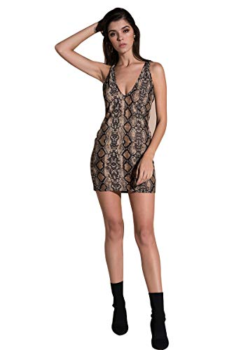 YOLI Women's Sexy Metal Chain Snake Dress Cut Out Back Sleeveless V-Neck Sleeveless Back Bodycon