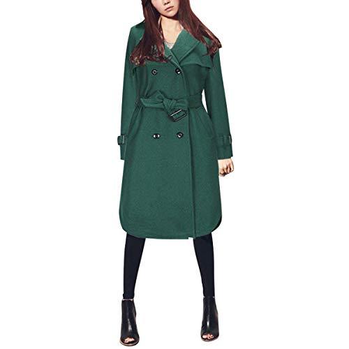 Color invernale a con piega Cappotto e per Size giacca abbottonatura lana L in doppia Green vento wEq7SCPq