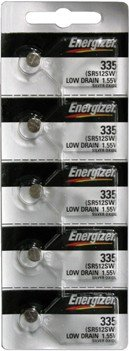 335 Silver Oxide Watch Battery - Energizer Batteries 335 (SR512SW) Silver Oxide Watch Battery. On Tear Strip (Pack of 5)