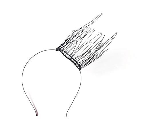 Tall Black Wire Crown Headband, Alternative Gothic Wedding Tiara, Metal Side Tilted Faerie Headpiece, Halloween Hairband