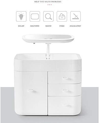 DFRgj Toque Luz LED Organizador de maquillaje Espejo Caja de almacenamiento de cosméticos Estuche de maquillaje de viaje Productos para el cuidado de la piel Mesa de preparación de estantes Caja de