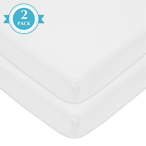 American Baby Company 2 Pack 100% Natural Cotton Value Jersey Knit Fitted Pack N Play Playard Sheet, White, Soft Breathable, for Boys and Girls