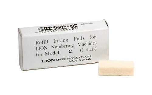 Lion Replacement Ink Pad for C Model Automatic Numbering Machines, 12 Pads/Box , 1 Box (PAD-C)