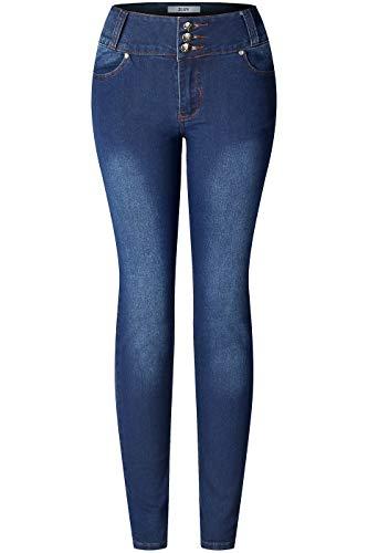 2LUV Women's 3 Button Stretchy Uniform Pants Skinny Jeans Denim Blue 3
