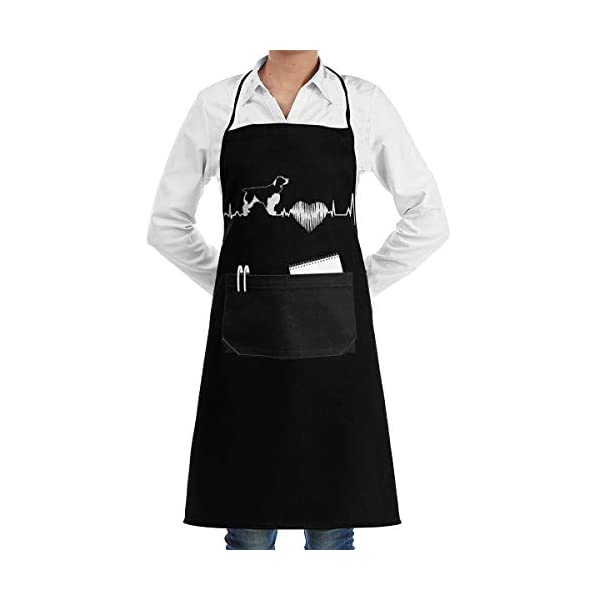 A1SB3WQ Unisex Adjustable Bib Apron English Springer Spaniel Comfortable Cooking Kitchen Aprons with 2 Pockets Black for Baking,Crafting,Gardening,BBQ 1