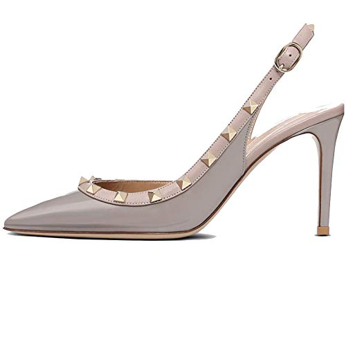 1db8e1cedfa35 Ayercony Rivets Studded Sandal, Woman's Pointed Toe Sandals High Heels  Slingback Pumps Rockstudded for Dress Party Grey 10CM Size 9.5 US