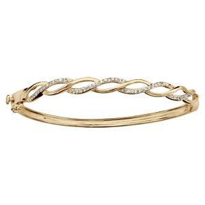 1001 Bijoux - Bracelet plaqué or jonc tressé oxydes blancs sertis