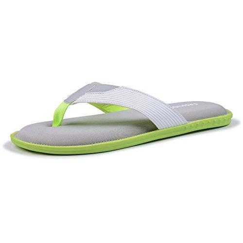 YIRUIYA Mens Flip Flops Lightweight Soft Casual Sandals Slippers Green-white wkrAMnoXOL