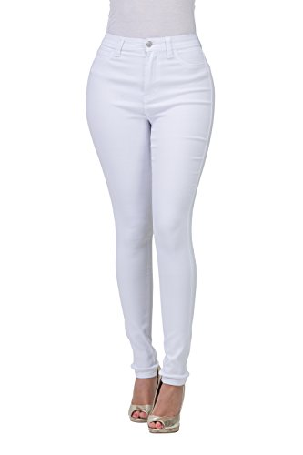 White High Rise (LOVER BRAND FASHION High Waisted-Rise Ladies Multi-Color Denim Stretch Skinny Colored Ripped Pants Jeans for Curvy Women)