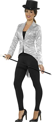 Sequin Tailcoat Jacket, Ladies Silver Large (uk Dress 16-18)