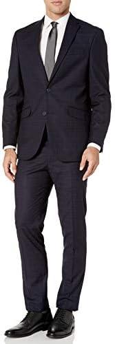 Kenneth Cole REACTION Men`s 32 Finished Bottom Suit Navy Crepe STRI 38R