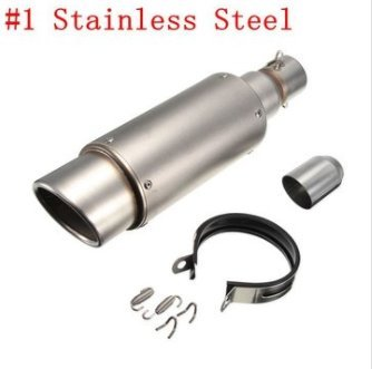 CoCocina 38-51mm Stainless Steel OR Carbon Exhaust Muffler Pipe Silencer Motorcycle Street Racing Bike - #1