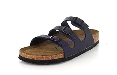 Birkenstock Womens Florida Soft Footbed Slide Sandal Navy Size 37 N EU (6-6.5 N US Women)