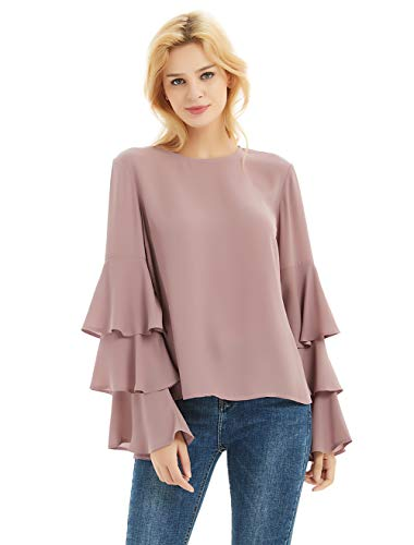 Tiered Sleeve Top - Basic Model Women's Bell Sleeve Tops Round Neck Shirts Ruffled Sleeves Tee Long Sleeve Blouses