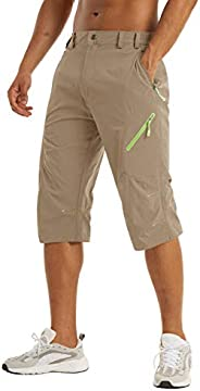 LACSINMO Men's Below Knee Shorts Quick Dry 3/4 Hiking Long Walking Shorts Summer Thin Capris with 4 Zipper