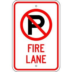Metal traffic Sign: 12x18 No Parking Fire Lane (W/ Symbol), Sign Material=E.G. Reflective on Aluminum