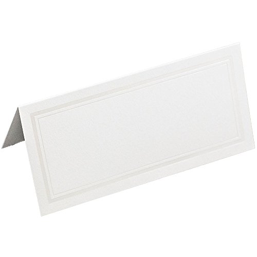 (JAM PAPER Foldover Wedding Table Place Cards - 2 x 4 1/2 - White with Ivory Double Border -)