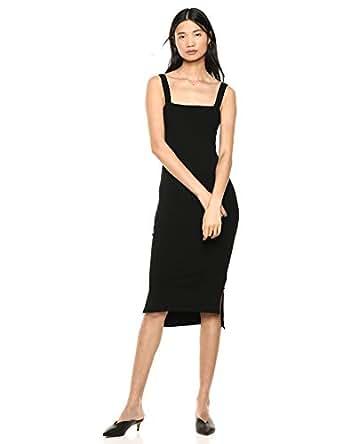 The Drop Amelia Square Neck Strappy Bodycon Midi Tank Dress, Black, XS