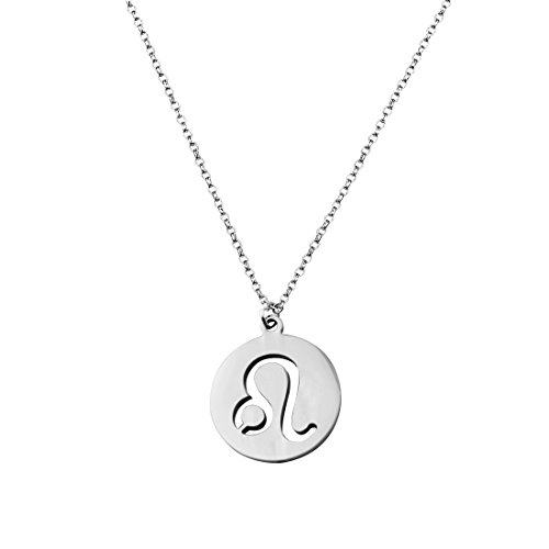 Leo Charm Pendant (ZUOBAO Zodiac Signs Cut out Stainless Steel Charm Choker Necklace (Leo pendant))