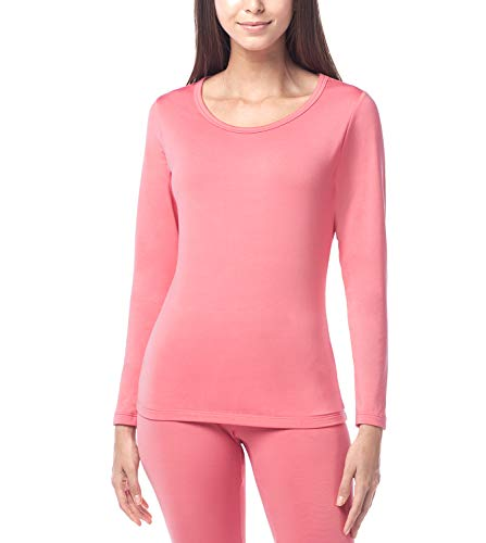 LAPASA Women's Lightweight Thermal Underwear Top Fleece Lined Base Layer Long Sleeve Shirt L15 (Pink, Medium)