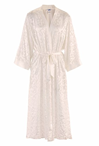 Burnout Long Gown - Nyteez Women's Silk Burnout Long Robe Kimono Dressing Gown (Cream, Queen Size)