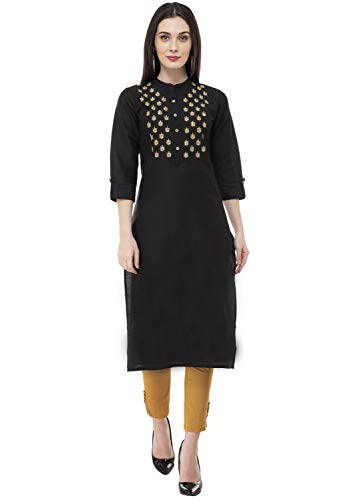 Lagi Women Designer Straight A-Line Kurta Kurtis top Tunic Dresses Polly Silk Rayon Cotton Kurtis Kurta (L, Black (UG12C))