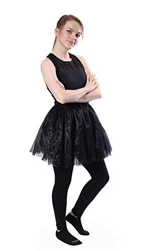 (Classic Layered Princess Tutu for Holiday Costumes, Fun Runs, and Everyday Wear Over Leggings Black)