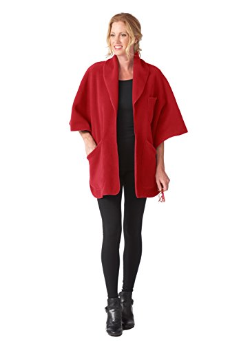 (Janska Reader's Wrap with Pockets for Books and Reading Glasses - Cozy and Warm Fleece - Unisex - One Size Fits All (OS, Red))