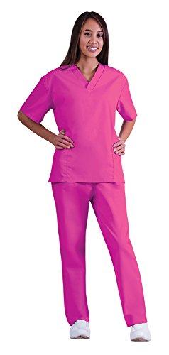 Women's Scrub Set - Medical Scrub Top and Pant, Hot Pink, XXXXX-Large (Scrub Adult Pink)