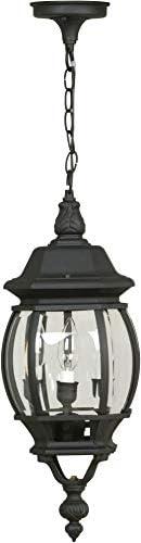 Craftmade Z331-TB French Style Outdoor Ceiling Pendant Lighting, 3-Light 180 Watt 8 W x 22 H , Matte Black