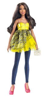Barbie All Dolled Up Stardoll Brunette Doll Yellow Top Pink Shoes   Mix And Match Trendy  Original Fashions And Accessories