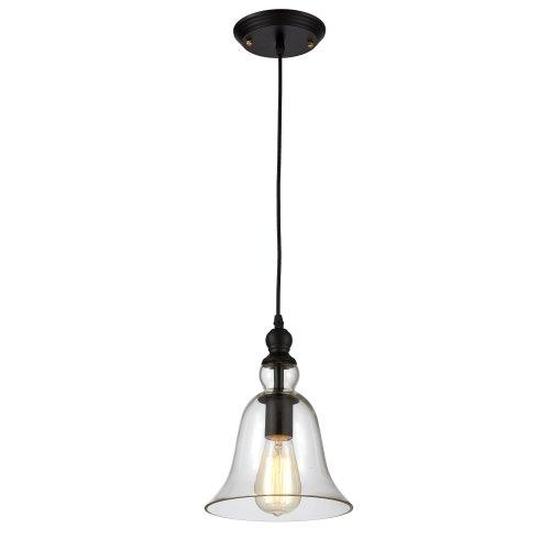 Ohr Lighting Edison Pendant Light Industrial Farmhouse Hanging Fixture Clear Glass Brass Finish Bell Shape (ED264P)