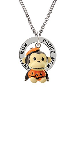 Cute Ring Leader Costume (Resin Monkey in Pumpkin Costume - Dance Mom Affirmation Ring Necklace)