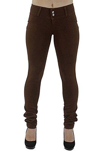 Mujer Leggings Pantalones Cintura Skinny Flacos Slim Otoño Invierno Pantalones Alta Jeans de Elásticos Minetom Marrón ZwvqTZ