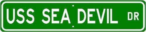 "USS SEA DEVIL SSN 664 Street Sign - Navy Sticker Decal Wall Window Door Art Vinyl Street Signs - 22"" x 6"""